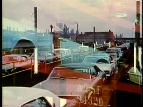 vídeos de stock, filmes e b-roll de montage, car shipment, 1960's, detroit, michigan, usa - 1960 1969