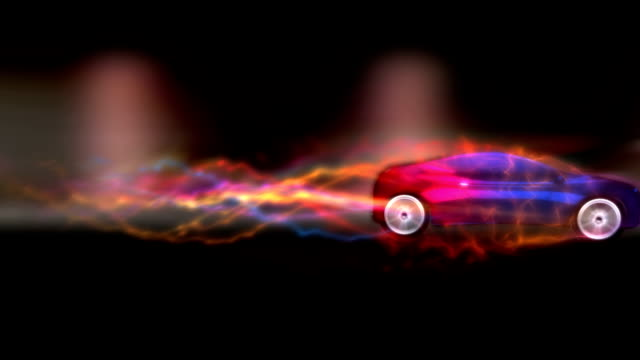 A car speeds against a background of lights and animations.