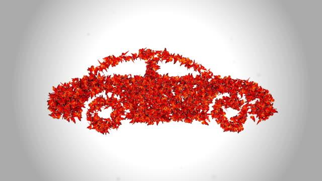 Auto-Symbol von Orange Schmetterlinge-Alpha