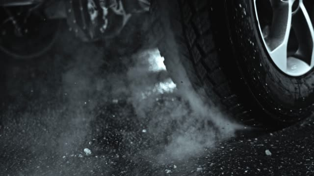 SLO MO Car tire during car burnout