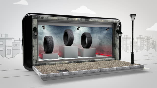 car tire online shopping - alpha channel - 4k resolution - display cabinet stock videos & royalty-free footage