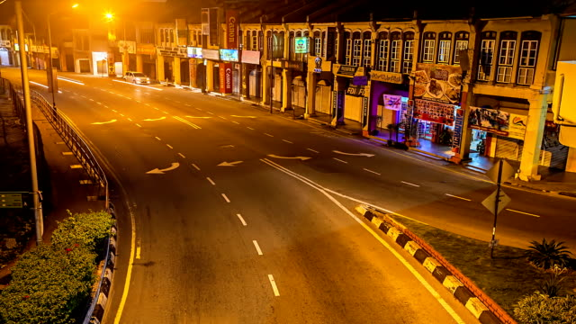car traffic at night in penang road, malaysia - penang stock videos and b-roll footage