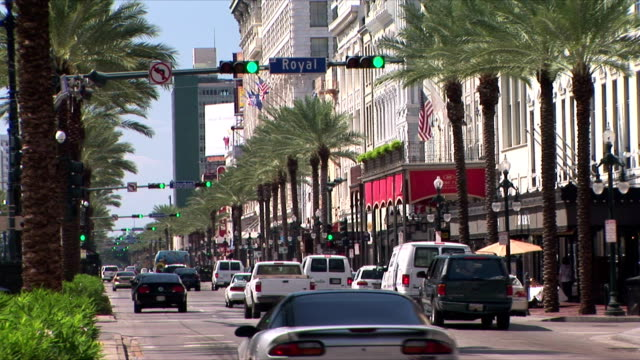 ws car traffic in canal street, new orleans, louisiana, usa - new orleans stock videos & royalty-free footage