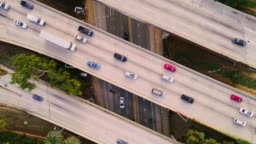 Car traffic on the overpass bridges