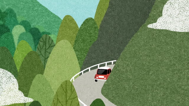 car traveling into the mountains - motion graphics stock videos & royalty-free footage