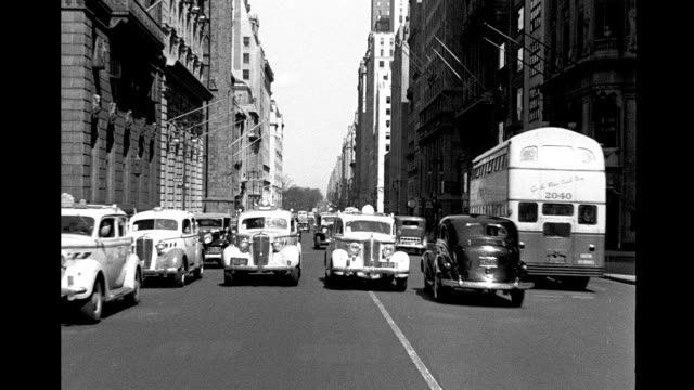 Car POV traveling south on 5th Avenue from 55th Street to 53rd street and parking Car POV traveling south on 5th Avenue on January 01 1940 in New...