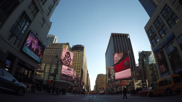 Car POV view of driving through new york city manhattan streets. urban metroplis background