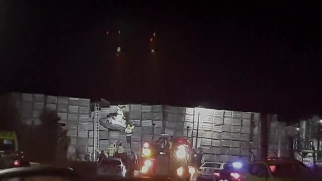 car was left wedged high above the ground between apple crates in hastings, new zealand, on april 4, after police said the driver failed to stop. a... - orchard stock videos & royalty-free footage