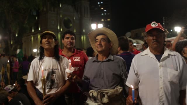 Car Wash anti corruption supporters in Curitiba southern Parana state capital Brazil Tuesday May 9 2017 Shots MS pan right from man yelling into...