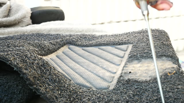 car wash , car mats - soap sud video stock e b–roll