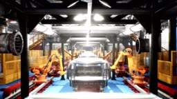 Car welding line of conveyor with frameworks of unfinished cars and robots welders
