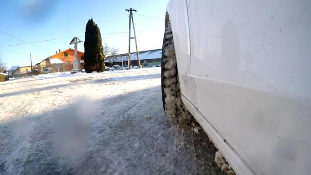 slo mo car wheel in the snow - digital camcorder stock videos & royalty-free footage