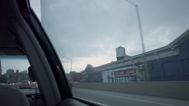 car window view while driving through greenpoint brooklyn on the bqe - passenger seat stock videos & royalty-free footage