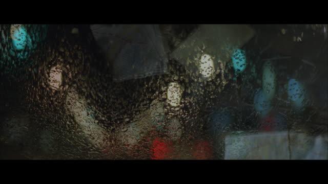 ECU, SOFT FOCUS, Car windshield in rain at night