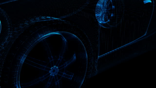 stockvideo's en b-roll-footage met car wireframe - automobile industry