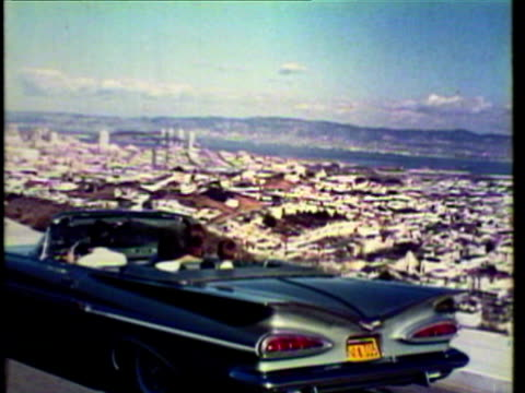 1953 ws pov car with family inside overlooking the city / san francisco, california, usa / audio - san francisco stock-videos und b-roll-filmmaterial