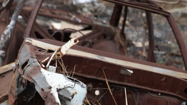 car wreck - junkyard stock videos and b-roll footage