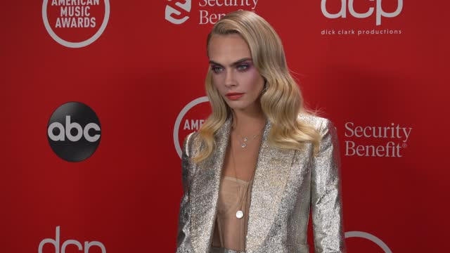 cara delevingne at the 2020 american music awards at the microsoft theater on november 22, 2020 in los angeles, california. - microsoft theater los angeles stock videos & royalty-free footage