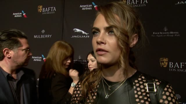 interview cara delevingne on being at the event and on british actors at the 2015 bafta los angeles tea party at the four seasons hotel on january 10... - tea party stock videos and b-roll footage
