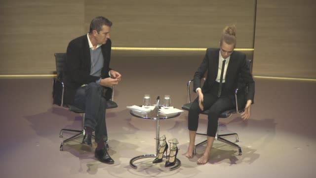 stockvideo's en b-roll-footage met interview cara delevingne on how she felt working in the fashion industry being given advice by kate moss finding an outlet in writing self discovery... - rupert everett