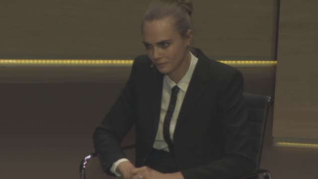 stockvideo's en b-roll-footage met interview cara delevingne on how she handled success her difficulties saying no to work her health problems and how she dealt with it at cara... - rupert everett