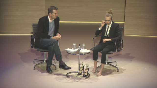 stockvideo's en b-roll-footage met interview cara delevingne on what it was like working as a model before she made it her experiences in the industry her big break with burberry at... - rupert everett