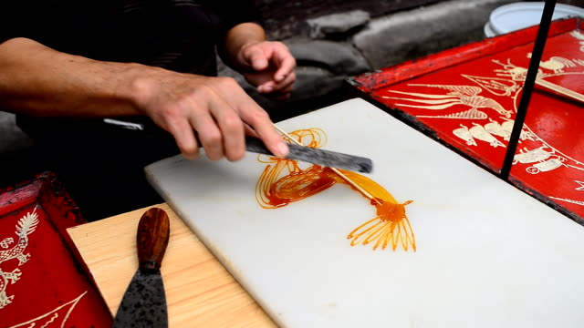 Caramelized sugar painting