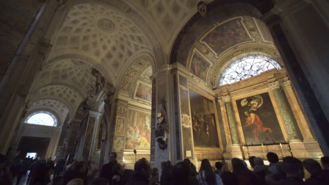 caravaggio in the contarelli chapel, san luigi del francese, rome - church stock videos & royalty-free footage