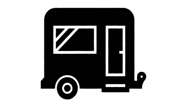vídeos y material grabado en eventos de stock de caravan camping line dibujo & ink splatter animación con alpha - gráfico por ordenador