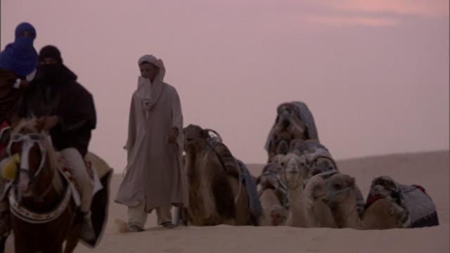 a caravan of camels moves through a desert. - convoy stock videos & royalty-free footage