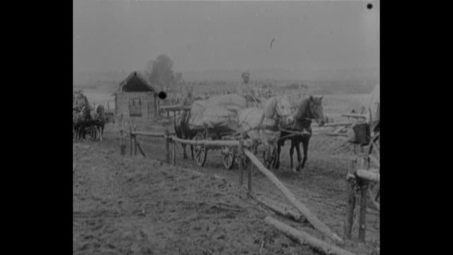 caravan of horse drawn supply wagons approaches passes by / ls horses wade in water / ws russian soldiers distribute food to local peasants - galicia stock videos & royalty-free footage