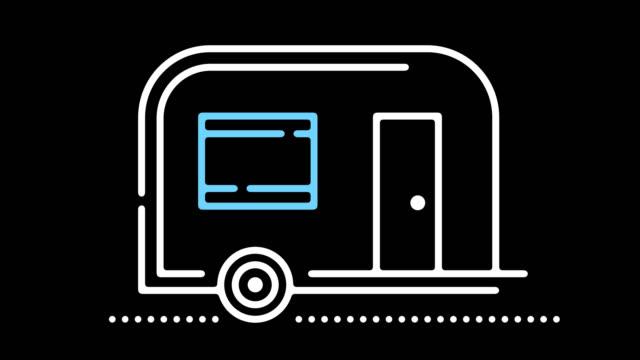 stockvideo's en b-roll-footage met caravan park lijn pictogram animatie met alpha - aanhangwagen