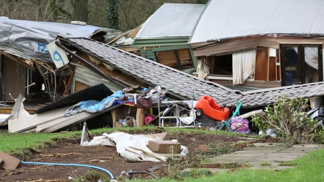 caravan park that contained around thirty static caravans in bolton, near appleby, cumbria, uk, all of the vans were damaged and many destroyed when... - meteorology stock videos & royalty-free footage