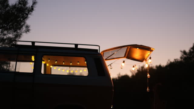 caravan view and lightings after sunset - convoy stock videos & royalty-free footage