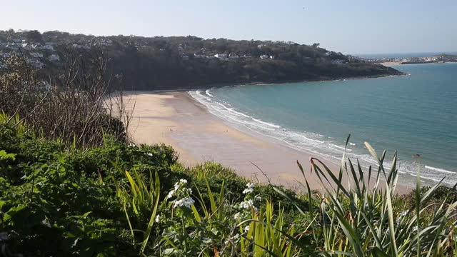 carbis bay beach as u.k. pickscornwallfor in person g7 summit in june, in carbis bay, cornwall, u.k., on friday and saturday, april 2 and 3, 2021.... - landscape scenery stock videos & royalty-free footage