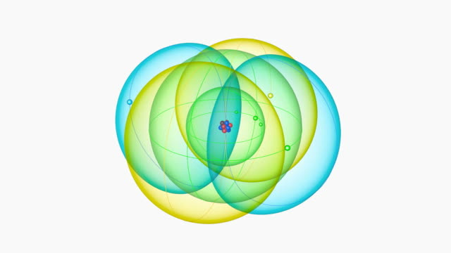 carbon atom. diagram of an atom of the element carbon, pulling back from the central nucleus to reveal the surrounding electron orbitals. - neutron stock-videos und b-roll-filmmaterial