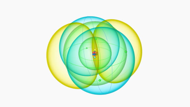 carbon atom. diagram of an atom of the element carbon, showing the central nucleus surrounded by electron orbitals. - neutron stock-videos und b-roll-filmmaterial