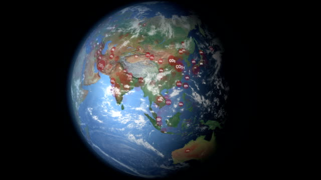 carbon dioxide visualization asia - air pollution stock videos & royalty-free footage