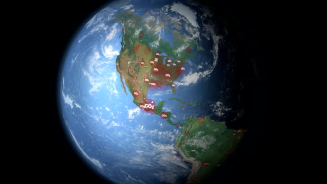 stockvideo's en b-roll-footage met carbon dioxide visualization north america - tekstveld