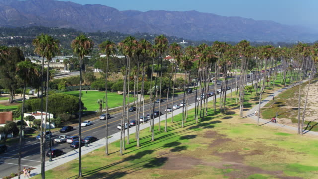 carbrillo blvd, santa barbara - drone shot - santa barbara california stock videos & royalty-free footage
