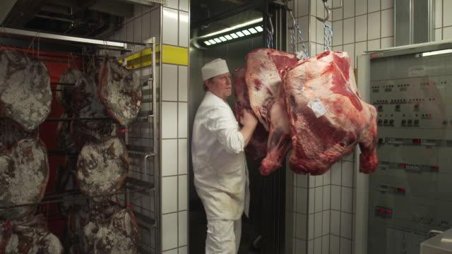 vídeos y material grabado en eventos de stock de carcasses in meat factory - carnicero