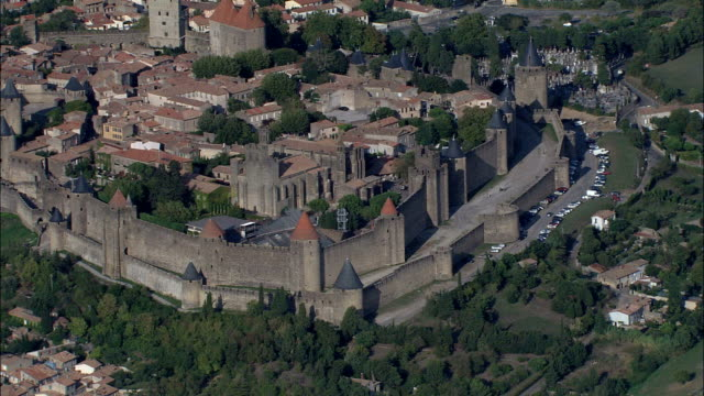 carcassonne  - aerial view - languedoc-roussillon, aude, arrondissement de carcassonne, france - aude stock videos & royalty-free footage