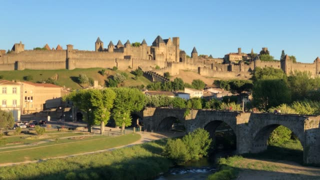 carcassonne, medieval citadel, france. timelapse - aude stock videos & royalty-free footage
