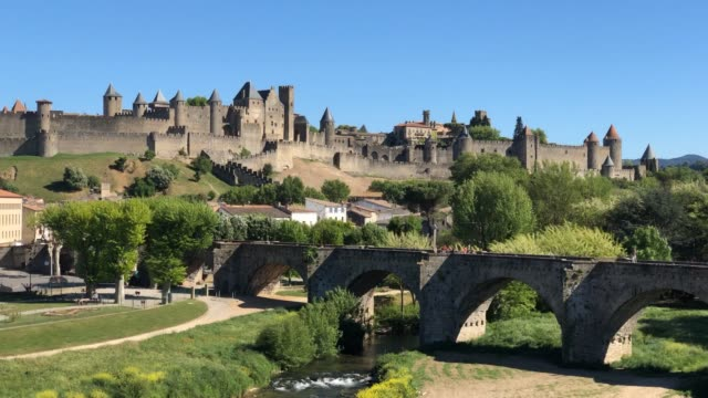 carcassonne, medieval citadel, france. timelapse - tower stock videos & royalty-free footage