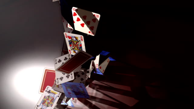 CGI, HA, card pyramid falling down, studio shot