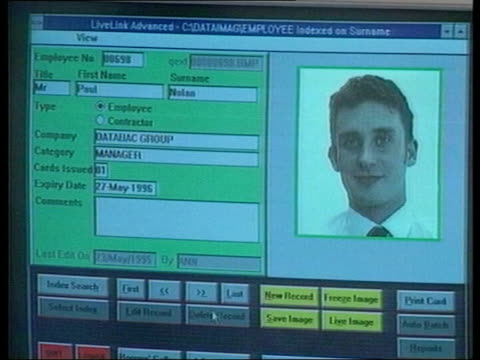 data image seq computer screen showing id card being produced id card thrown down on table - card table stock videos & royalty-free footage