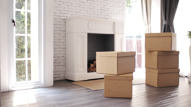 cardboard boxes for moving in new home - medium group of objects stock videos & royalty-free footage