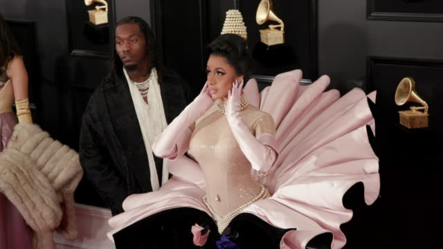 Cardi B and Offset at the 61st Grammy Awards Arrivals at Staples Center on February 10 2019 in Los Angeles California EDITORIAL