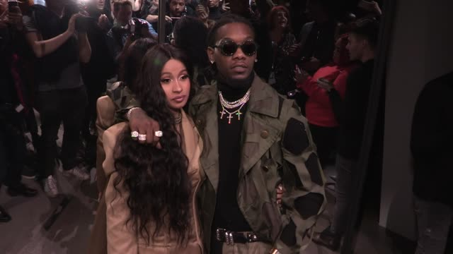 Cardi B and Offset front row for the Prabal Gurung Ready to Wear Fall Winter 2018 Fashion Show in New York City New York City USA on Sunday February...