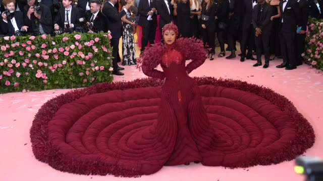cardi b at the 2019 met gala celebrating camp: notes on fashion - arrivals at metropolitan museum of art on may 06, 2019 in new york city. - gala stock videos & royalty-free footage